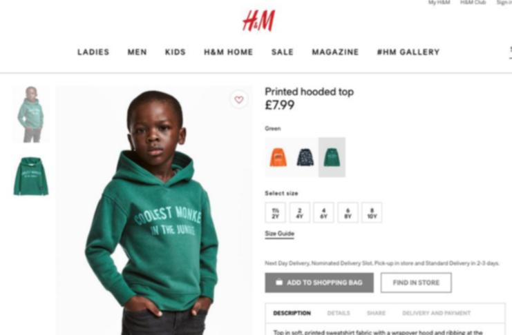 H&M nella bufera: foto razzista con bimbo nero e felpa con scritta